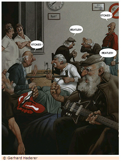 Stones vs Beatles (c) Gerhard Haderer